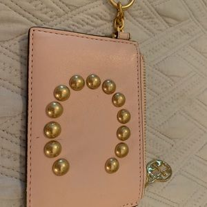 Tory Burch light pink initial C, key/card holder